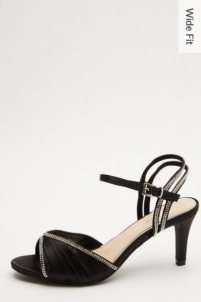 Wide Fit Black Embellished Heeled Sandals